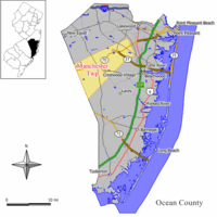 Map of Manchester Township in Ocean County. Inset: Location of Ocean County highlighted in the State of New Jersey.