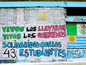 "2014 Iguala mass kidnapping - ""They took them alive. We want them back alive. Solidarity with the 43 disappeared students,"" the graffiti reads."