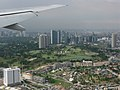 Manila skyline from above, approaching the Manila airport, Manila, Philippines.jpg
