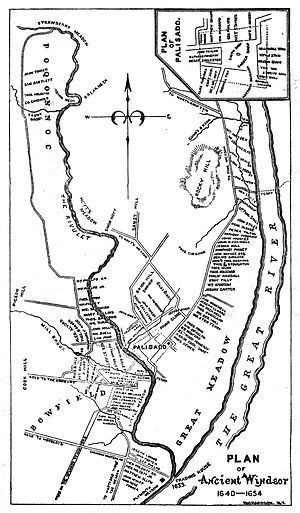 William Phelps (colonist) - Plan of Ancient Windsor, Connecticut, circa 1640–1654, showing the names and locations of settlers' homes, the Palisade, and various geographic features