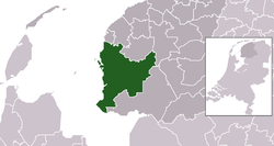 Highlighted position of Súdwest-Fryslân in a municipal map of Friesland