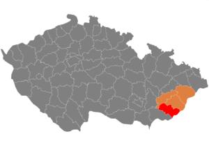 Vị trí huyện Uherské Hradiště trong vùng Zlín trong Cộng hòa Séc