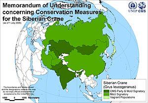 Siberian crane - Map Signatories to Siberian Crane memorandum (MoU)