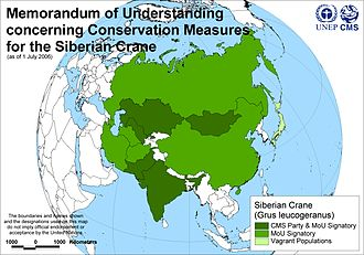Siberian Crane Memorandum of Understanding - Map of signatories to the Siberian Crane MoU, 1 July 2006