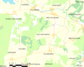 Mapa obce Jully-sur-Sarce