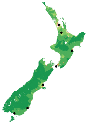 Legislature broadcasters in New Zealand - This is a map of the AM Network frequencies.