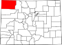 Map of Colorado highlighting Moffat County.svg