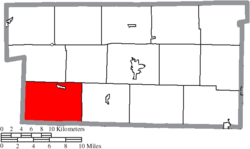 Location of Richland Township in Holmes County