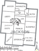 Map of Jackson County with municipalities and townships