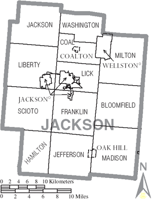 Jackson County, Ohio - Map of Jackson County, Ohio with Municipal and Township Labels