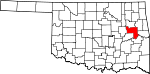 State map highlighting Muskogee County