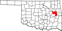 Map of Oklahoma highlighting Muskogee County