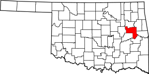 Map of Oklahoma highlighting Muskogee County.svg