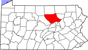 Map of Pennsylvania highlighting Lycoming County