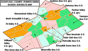 Port Clinton, Pennsylvania - Map of Schuylkill County, Pennsylvania public school districts showing Schuylkill Haven Area SD in green