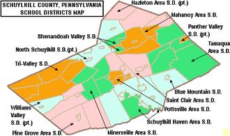 Mahanoy City, Pennsylvania - Map of Schuylkill County, public school districts showing Mahanoy Area SD in orange