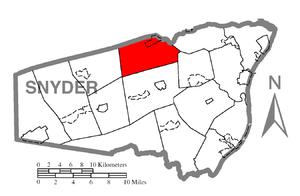 Center Township, Snyder County, Pennsylvania - Image: Map of Snyder County, Pennsylvania Highlighting Center Township