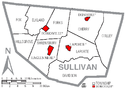 Map of Sullivan County, Pennsylvania