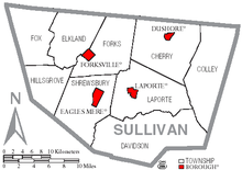 The county has nine township and four small boroughs