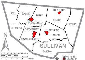 Map of Sullivan County, Pennsylvania with Muni...