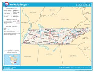 Landkarte Tennessee
