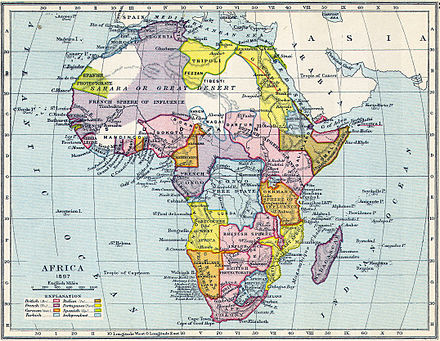 "A map of colonial Africa in 1897 showing the European ""sphere[s] of influence"". Map of colonial Africa in 1897.jpg"