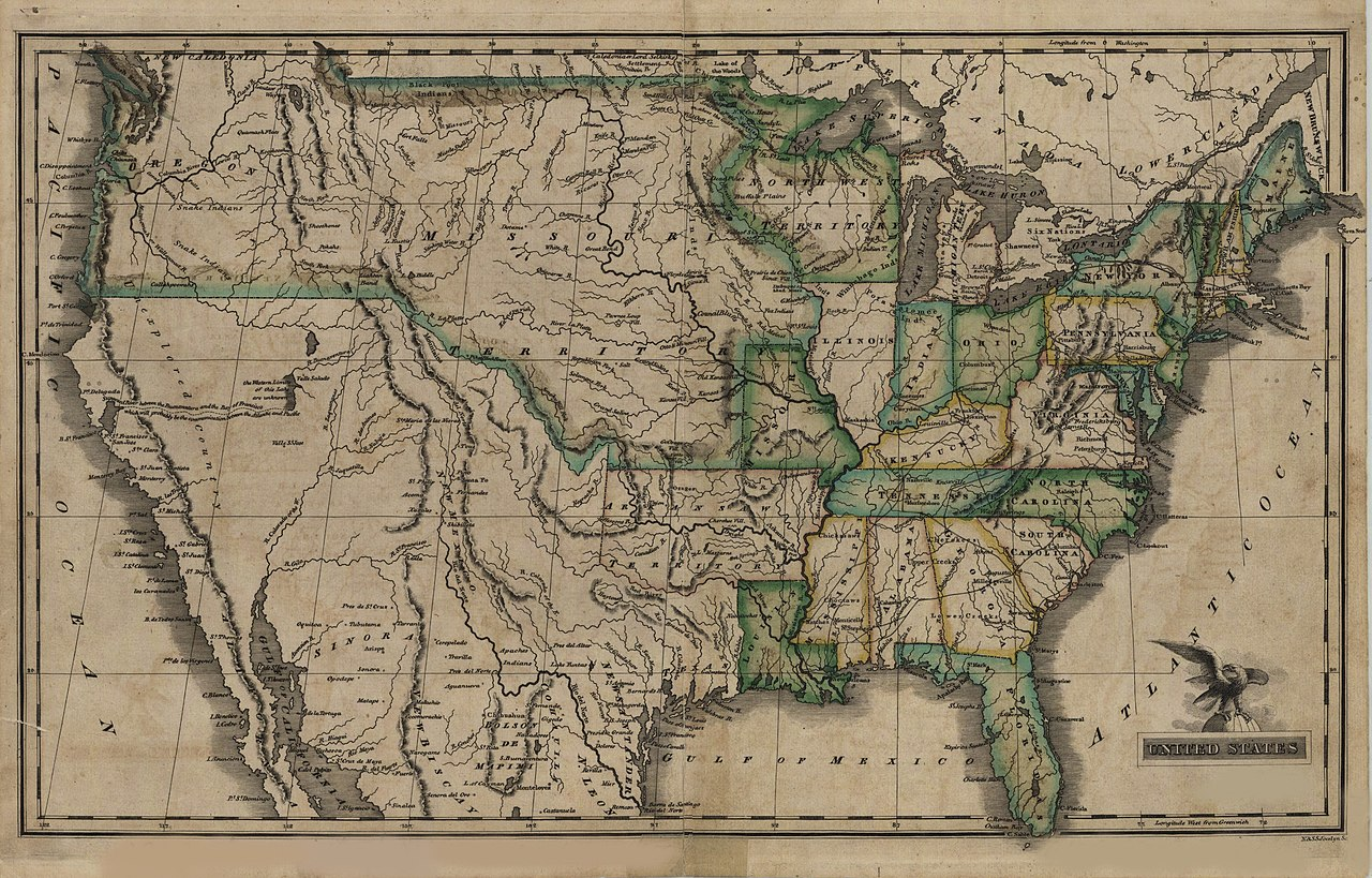 File Map of the United States 1823 Wikimedia mons