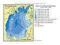 Mapa wielofazowa prezentująca zmiany zasięgu Jeziora Aralskiego w latach 1960 - 2009..JPG