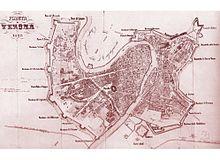 Mappa di Verona del 1846 con le fortificazioni austriache