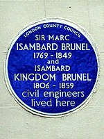Marc Brunel 1769-1849 and Isambard Kingdom Brunel 1806-1859 Civil Engineers lived here.jpg