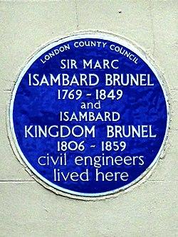 Photo of Marc Isambard Brunel and Isambard Kingdom Brunel blue plaque