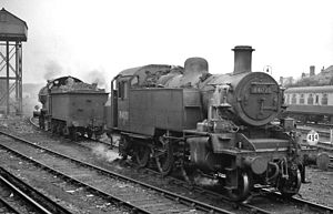 Margate railway station - BR Standard 2-6-2T at Margate in 1958