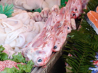 Offal - Animal heads, brains, trotters and tripe on sale in an Istanbul meat market