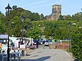 Market stalls and The Church on the Hill - geograph.org.uk - 985522.jpg