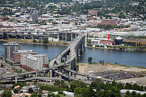 Marquam Bridge - The Marquam Bridge over the Willamette River, viewed from the southwest, atop Marquam Hill