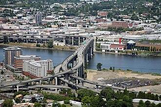 Marquam Bridge - The Marquam Bridge over the Willamette River, viewed from the southwest, atop Marquam Hill