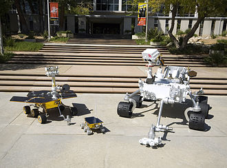 Jet Propulsion Laboratory - MSL mockup compared with the Mars Exploration Rover and Sojourner rover by the Jet Propulsion Laboratory on May 12, 2008