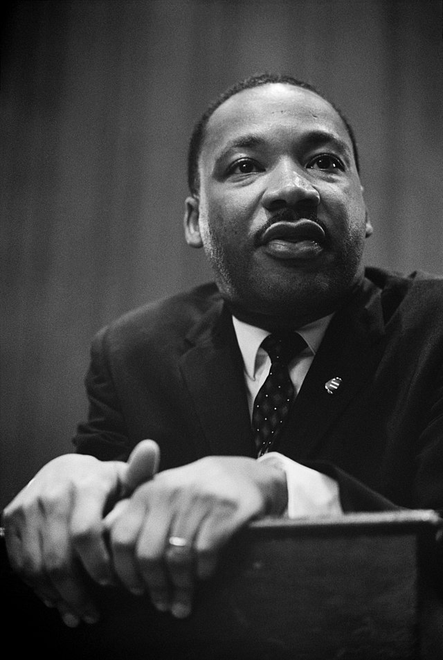 From commons.wikimedia.org: Martin Luther King press conference 01269u edit {MID-71435}