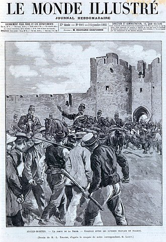 Massacre of Italians at Aigues-Mortes - Arrival of troops on the scene, 18 hours after the drama