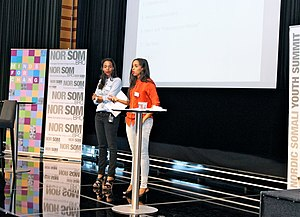 Mataano - Ayaan and Idyl speaking at the Nordic Somali Youth Summit 2013