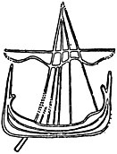 Detail of a sailing vessel inscribed on Maughold IV