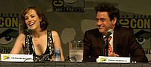Rachel McAdams and Robert Downey Jr. sitting at the farside of a table behind two microphones.