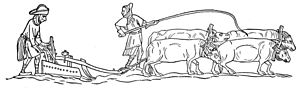 A monochrome, profile illustration of four oxen dragging a plough through a field. The ploughman walks behind, controlling the plough, while his colleague stands to his side, holding a long whip in the air.