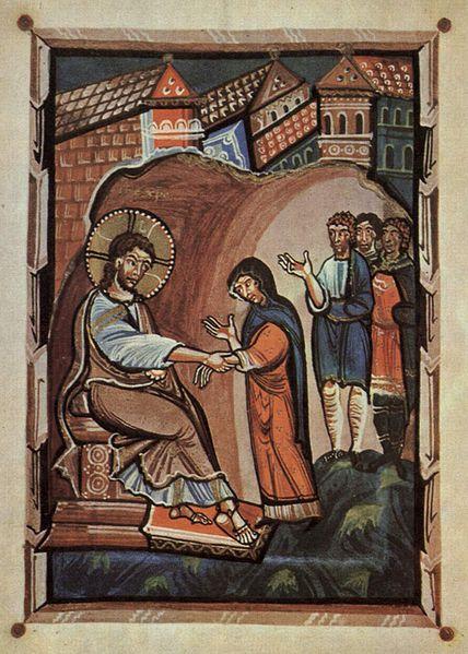 MEISTER des Hitda Evangeliars Evangeliar der Äbtissin Hitda von Meschede, Jesus und die Schwiegermutter Petri, um1020