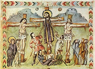 "Holy Lance - Crucifixion miniature, Rabula Gospels, with the legend ""Loginos"""