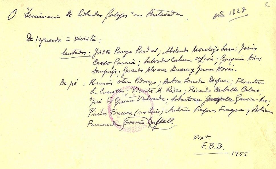 Reverso da fotografía de 1928, manuscrito por Fermín Bouza-Brey.