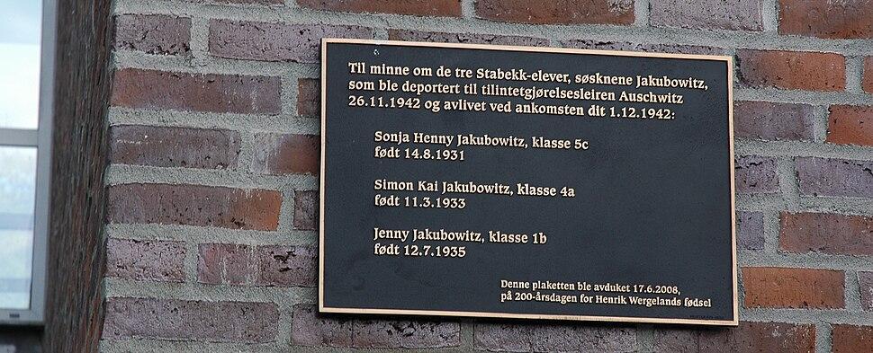 Memorial plaque at Stabekk skole over murdered Jewish children