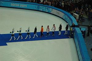 Viktor An - Men's 1000 m short track speed skating, 2014 Winter Olympics, Podium. Medalists Gold medal Viktor Ahn Russia, Silver medal Vladimir Grigorev Russia, Bronze medal Sjinkie Knegt Netherlands