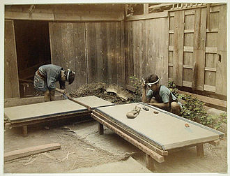Tatami - Men making tatami mats, late 19th century.