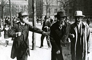 Mensheviks - Leaders of the Menshevik Party at Norra Bantorget in Stockholm, Sweden, May 1917. Pavel Axelrod, Julius Martov and Alexander Martinov